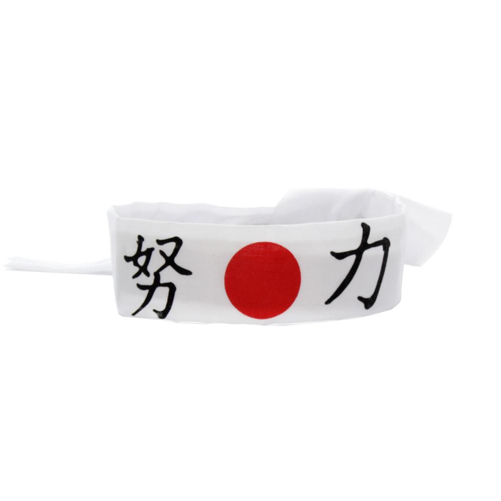 Faixa Japonesa Hachimaki para Sushiman Doryoku Esforço - Branco