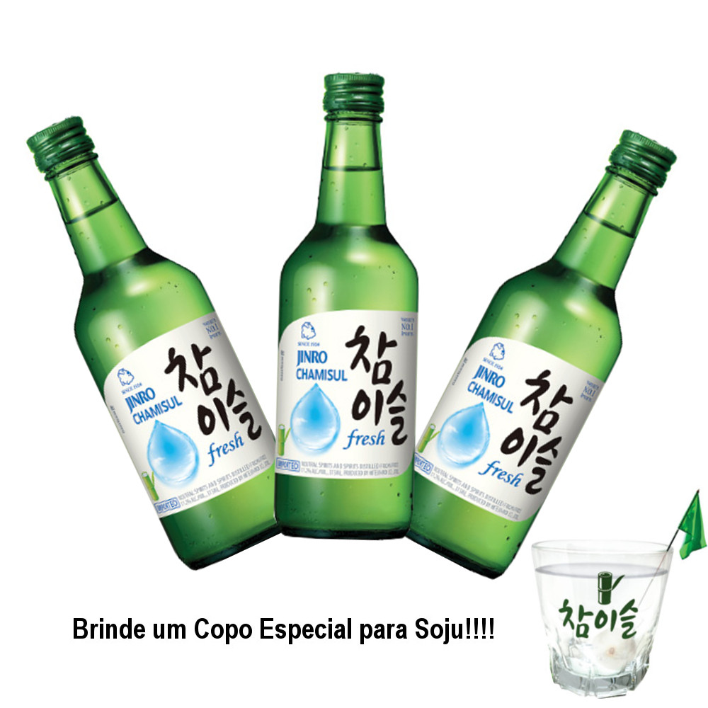 Kit Soju Importado Chamisul  Fresh Soju HiteJinro 360mL - 3 Unidades + Brinde