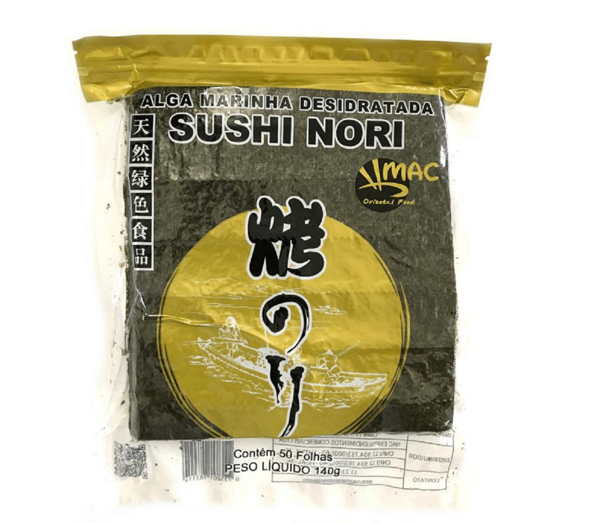 Alga Marinha Nori para Sushi e Temakis C/50 Folhas Yaki Sushi Nori Gold Brand  MAC - 140 gramas
