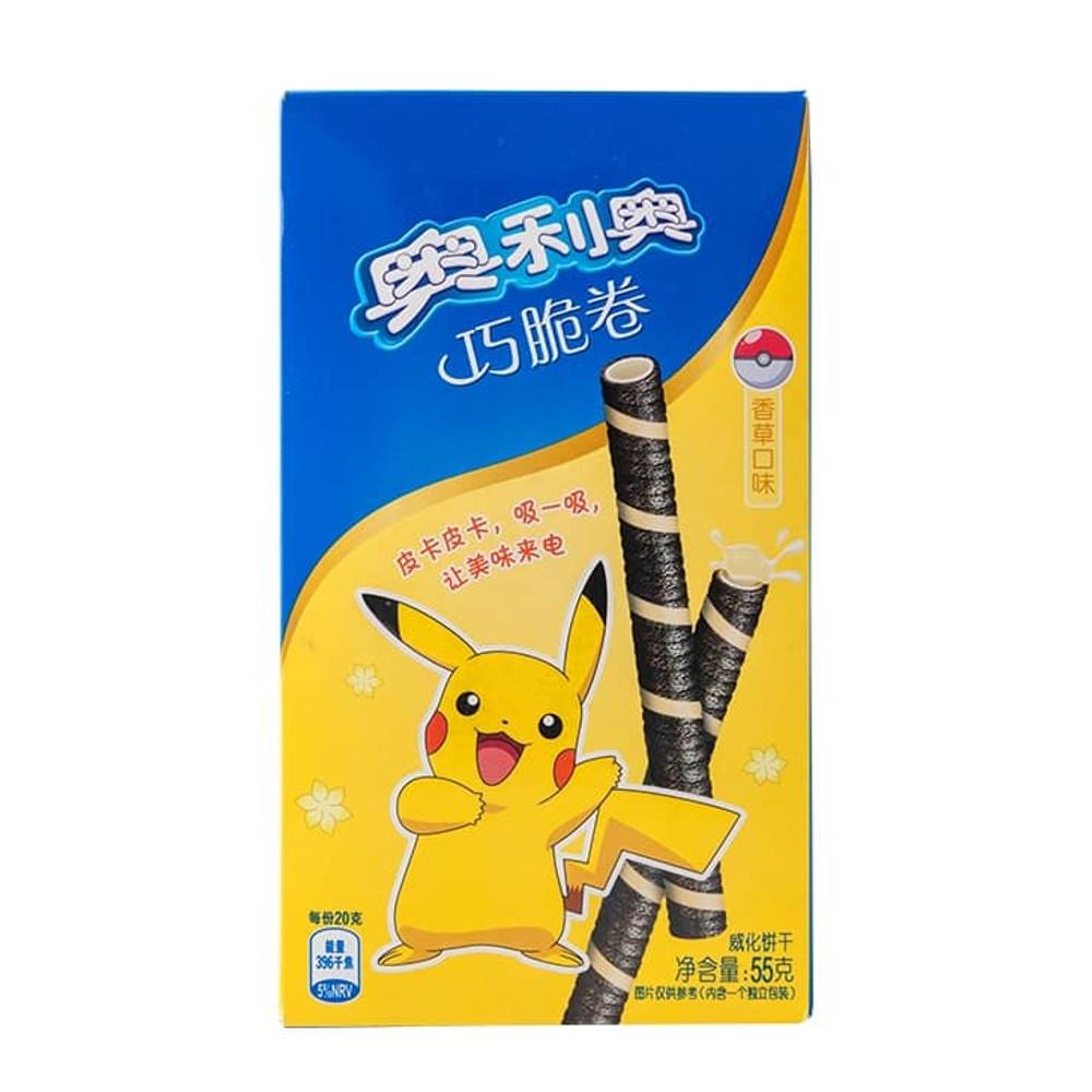 Biscoito Pokemon em formato Tubo Wafer de Chocolate com Baunilha Pikachu - 55 gramas