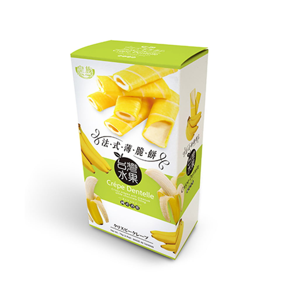 Crepe Crocante Dentelle Sabor Banana com Recheio de Chocolate Branco - 78 gramas