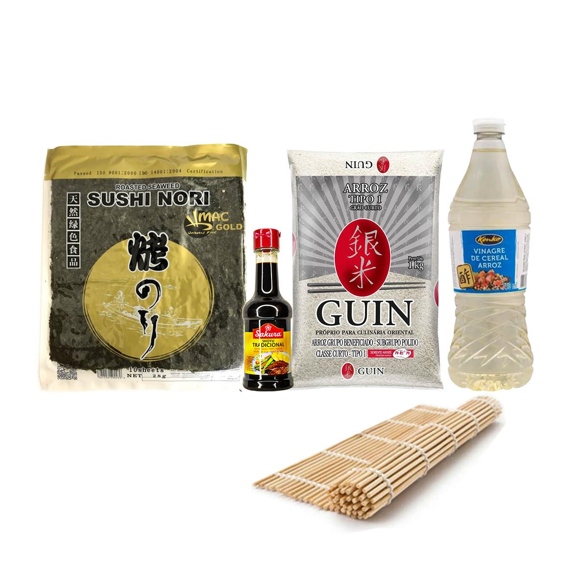 Kit Sushi Oriental para Sushi - Esteira, Alga, Arroz, Shoyu e Vinagre