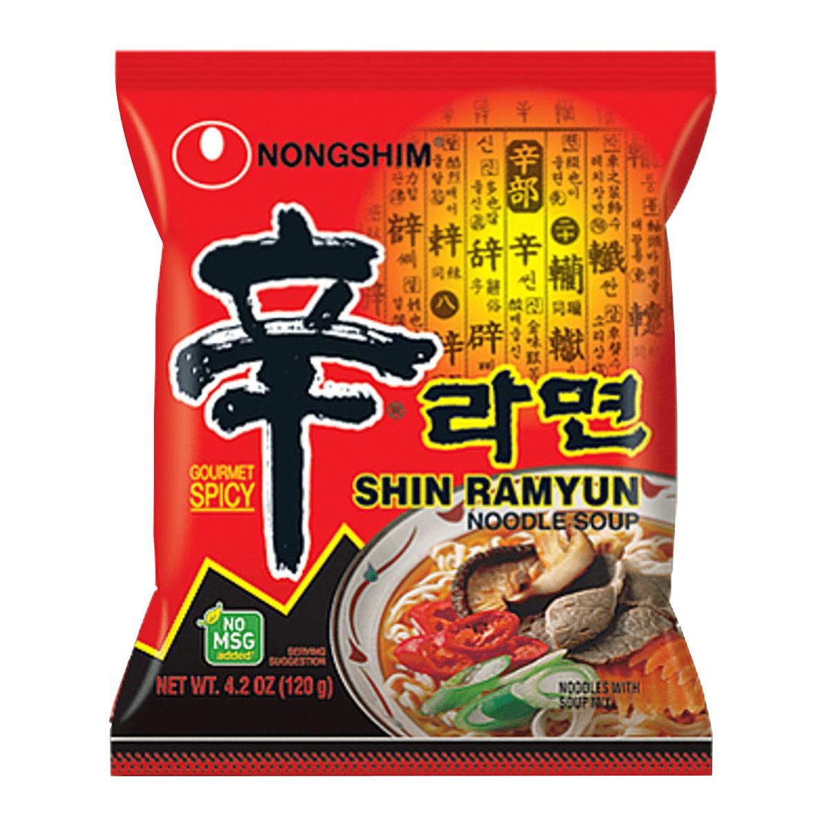 Lamen Coreano Shin Ramyun Picante Carne e Legumes 100g