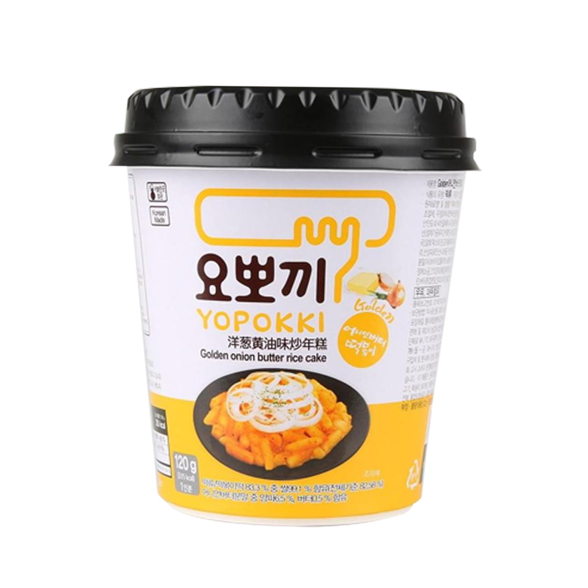 Yopokki Bolinho de Arroz Coreano Instantâneo sabor Molho de Cebola Cremosa Topokki Copo - 120 gramas