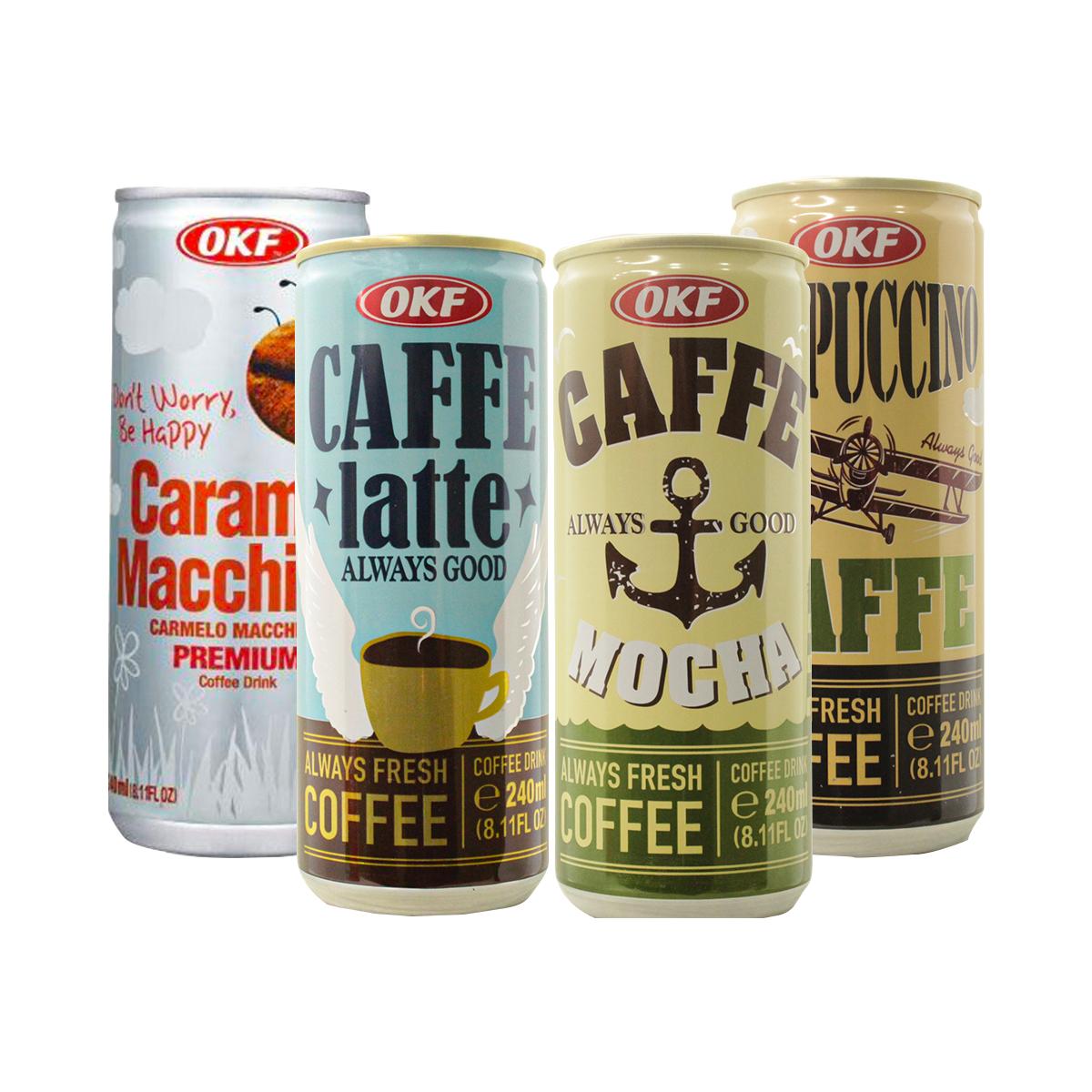 Kit Café Coreano Ao Leite Lata Okf Coreano Gelado Quente - 4 Sabores