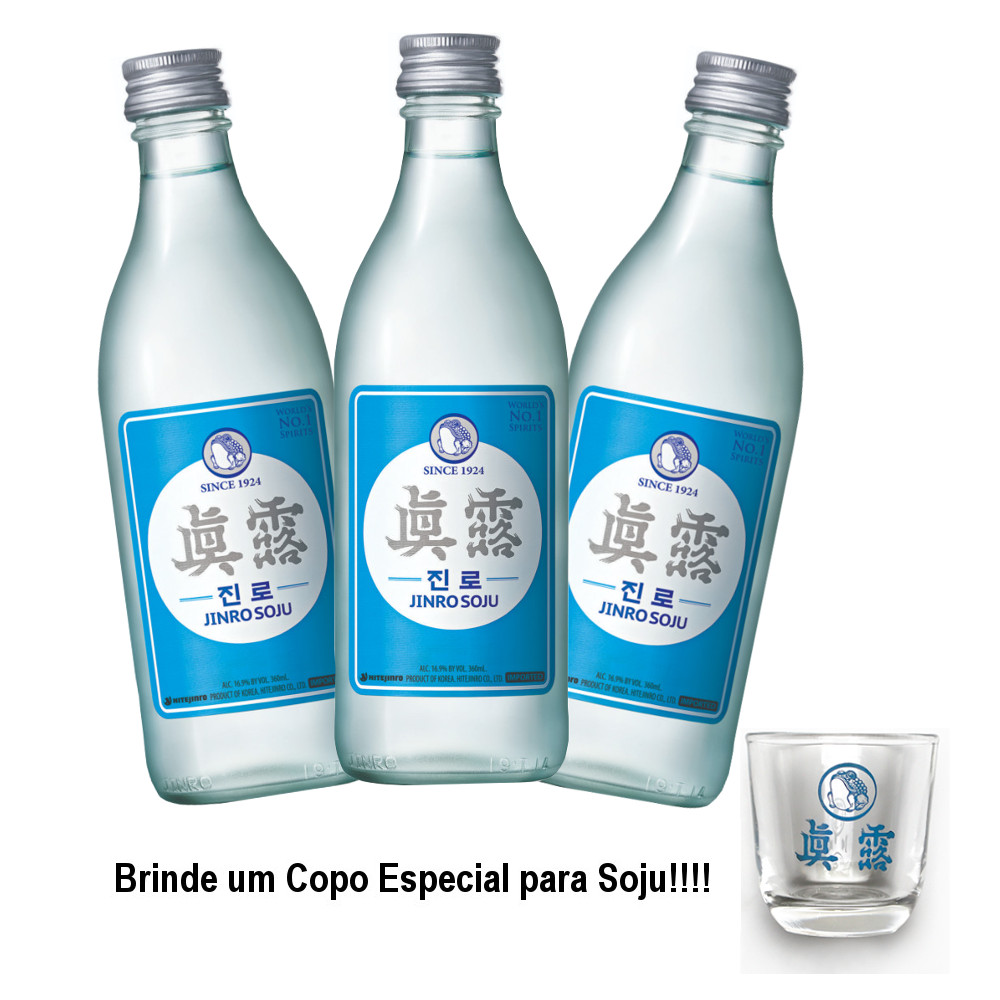 Kit Soju Importado IsBack Soju HiteJinro 360mL - 3 Unidades + Brinde
