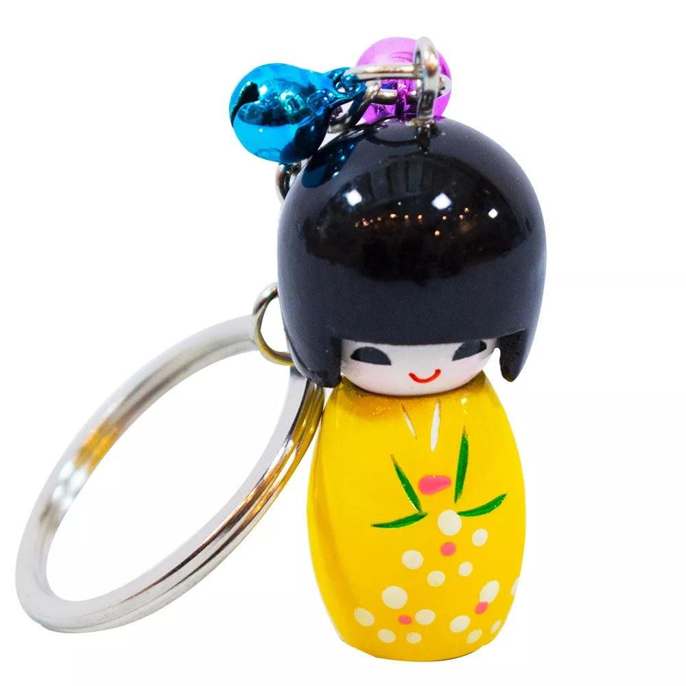 Chaveiro da boneca Japonesa Kokeshi - Amarelo