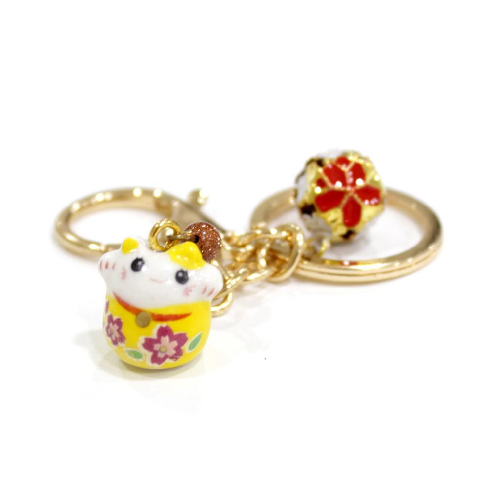 Chaveiro Oriental Gato da sorte - Amarelo