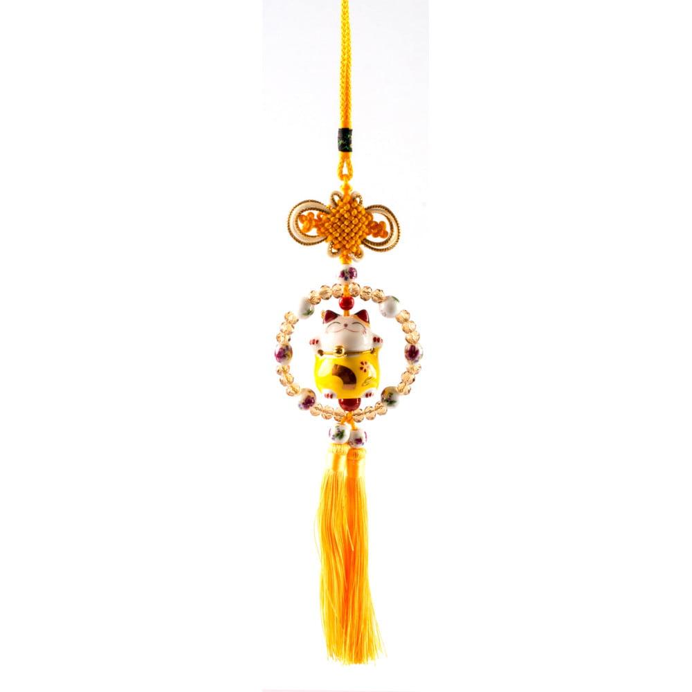 Pêndulo Oriental Gato da sorte - Amarelo