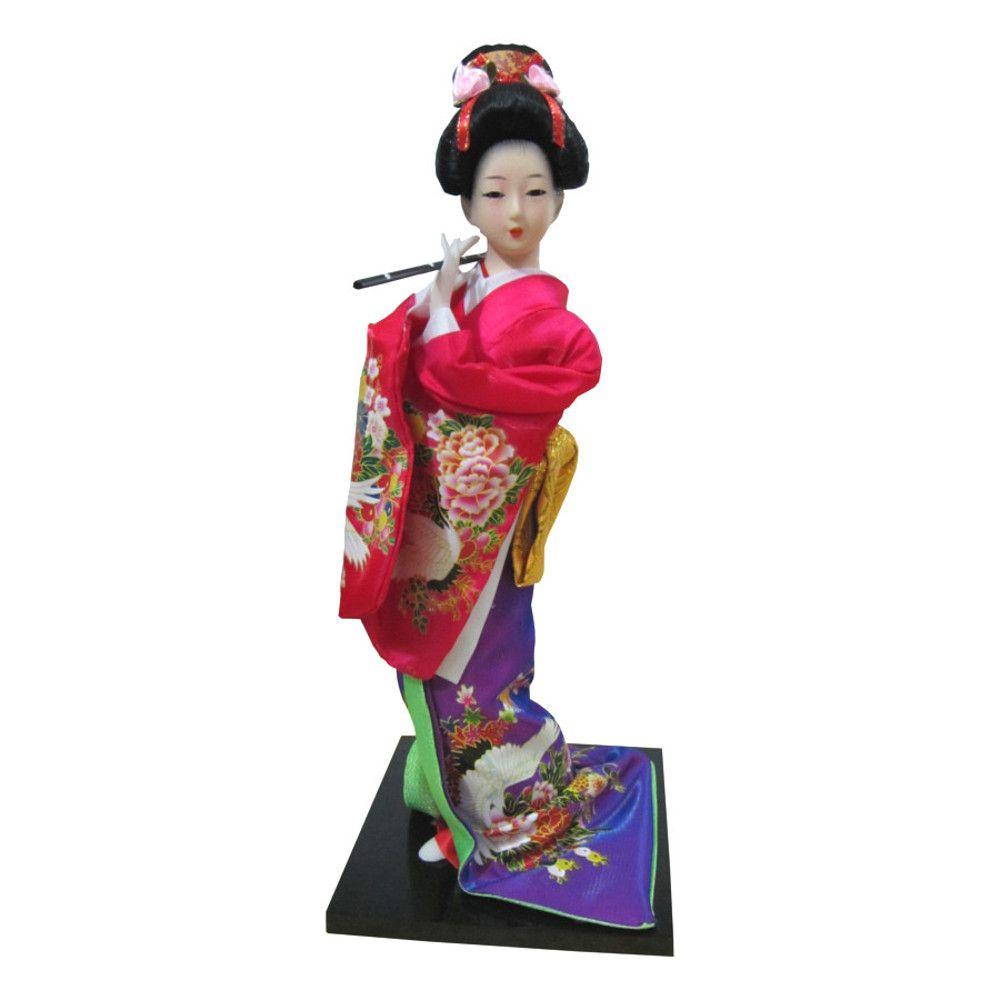 Boneca Japonesa Gueixa Artesanal com Kimono Colorido e Flauta