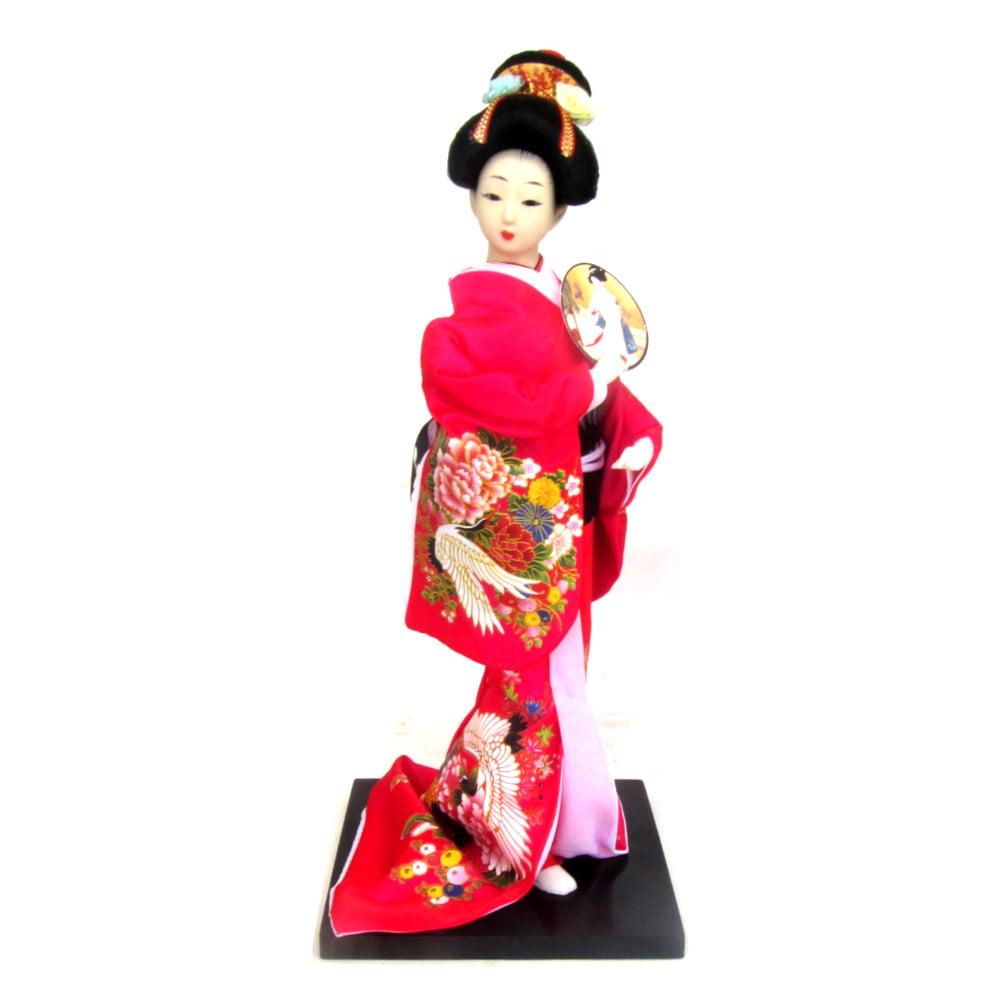 Boneca Japonesa Gueixa Artesanal com Kimono Pink e Leque Arredondado