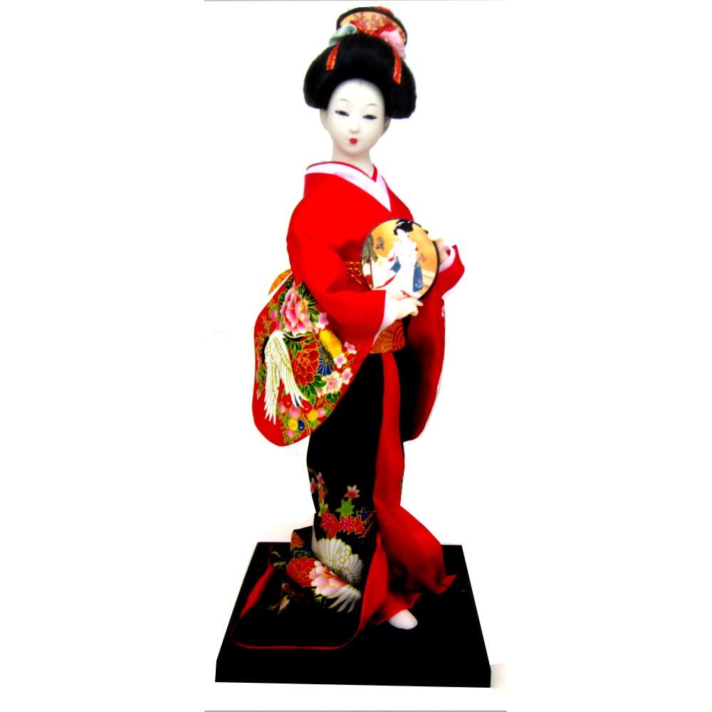 Boneca Japonesa Gueixa Artesanal com Kimono Vermelho e Preto com Leque Arredondado