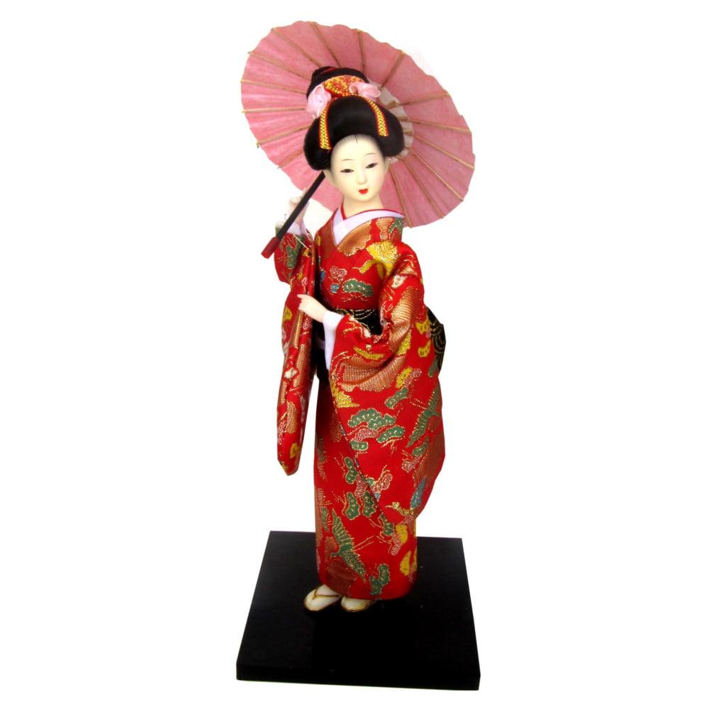 Boneca Japonesa Gueixa Artesanal com Kimono Vermelho e Sombrinha