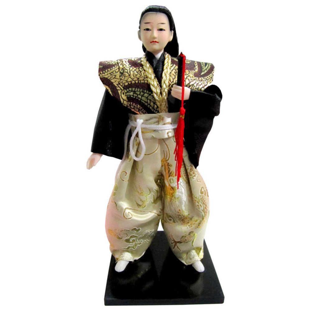 Boneco Japonês Samurai com Kimono Branco e Preto e Espada - 30 cm