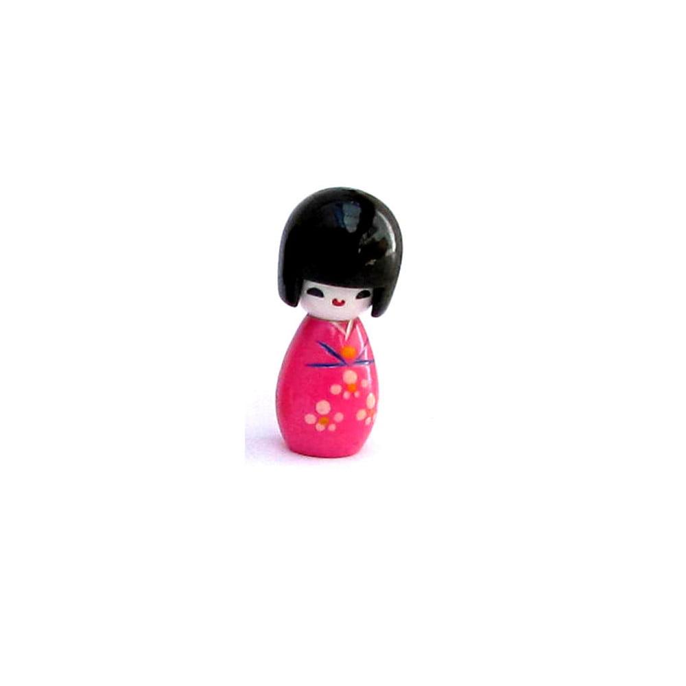 Imã da boneca Japonesa Kokeshi - Pink