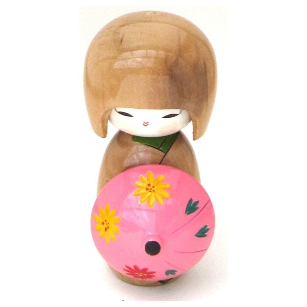Boneca Japonesa Kokeshi com Sombrinha Oriental - Caramelo