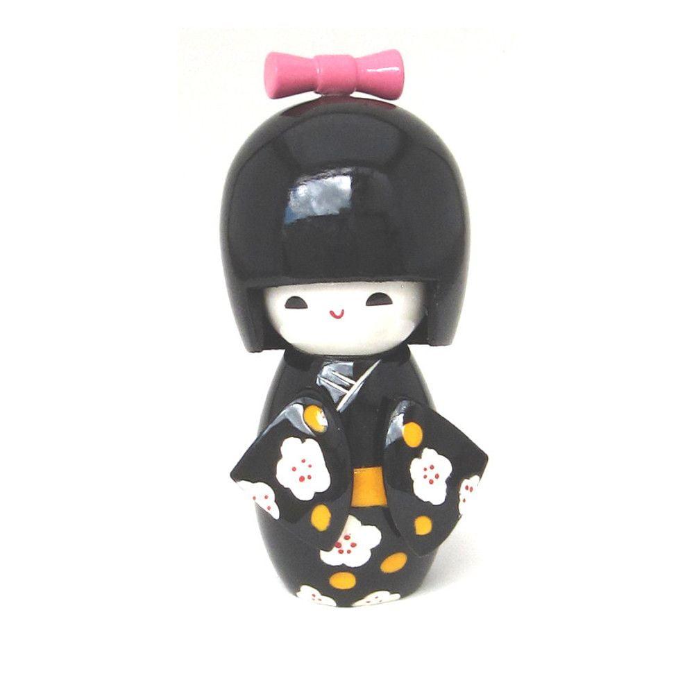 Boneca Japonesa Kokeshi  Preta (11cm) - KMPS
