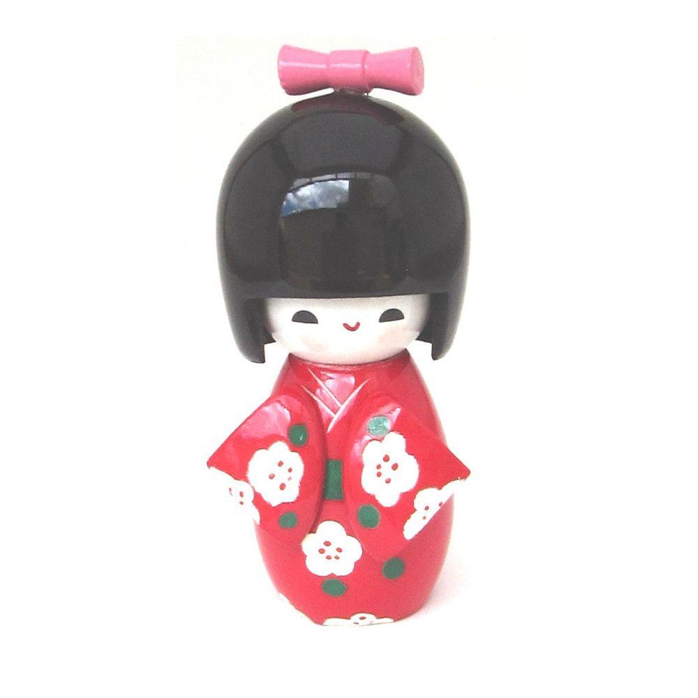 Boneca Japonesa Kokeshi  Vermelha (11cm) - KMVS