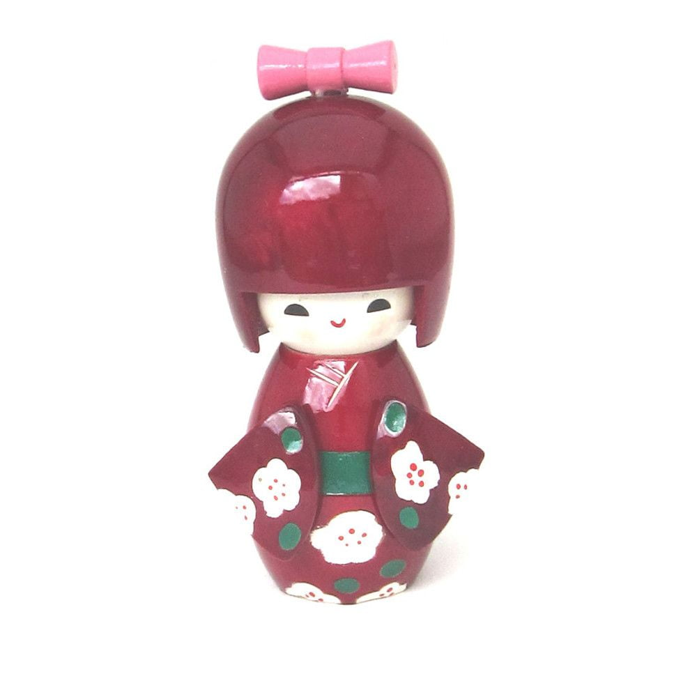 Boneca Japonesa Kokeshi  Vinho (11cm) - KMVS