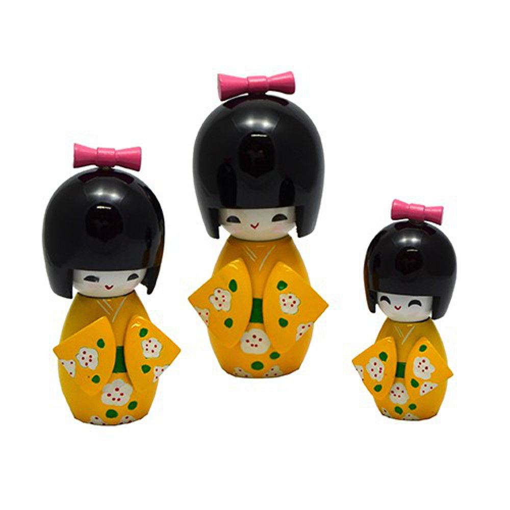 Trio Boneca Japonesa Kokeshi  Amarela - TKAS