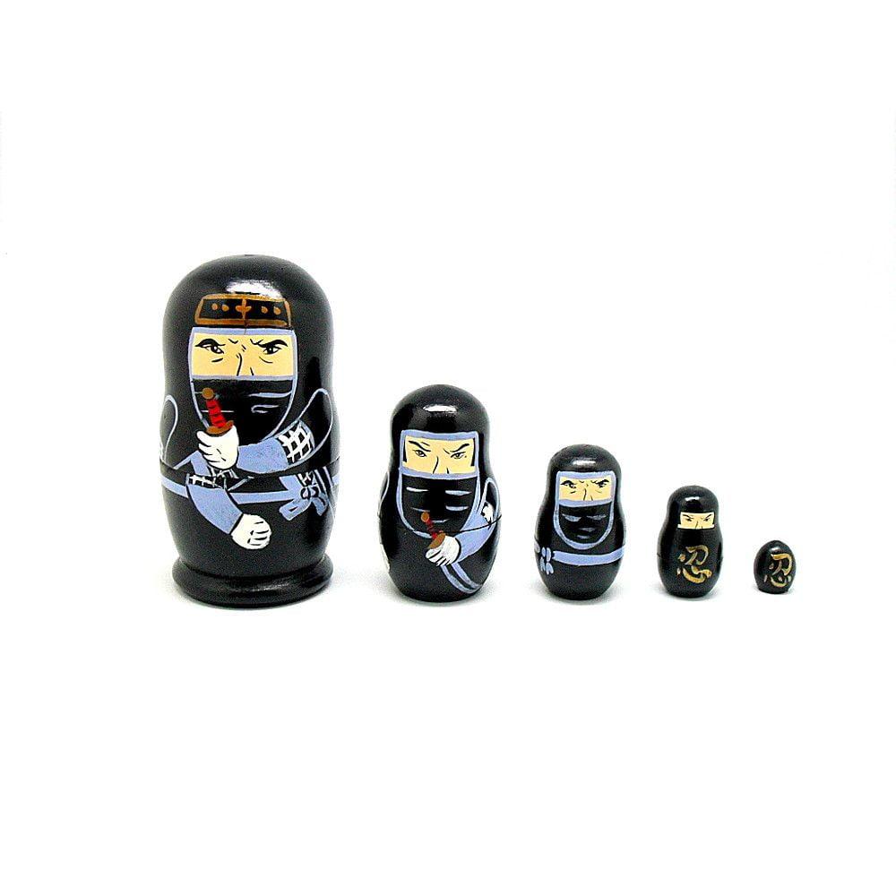 Bonecos Ninja Japones Madeira Matrioska - Preto