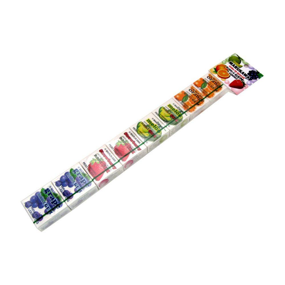 Pacote de Chicletes Sortidos Marukawa Bubble Gum - 8 unidades