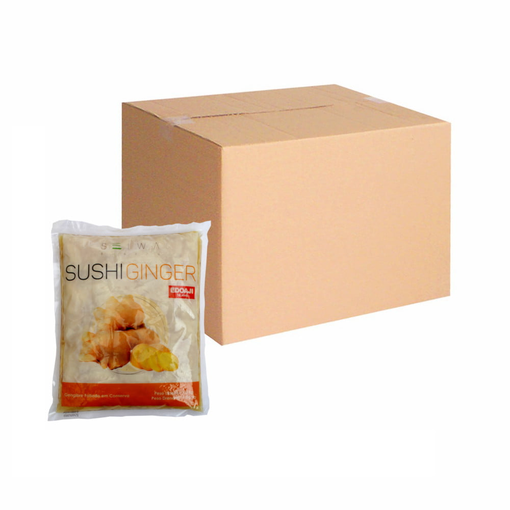 Caixa de Gengibre Fatiado Adocicado Choga Gari 1 kg - 10 Unidades