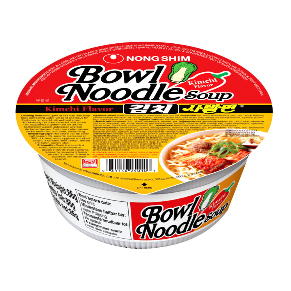 Lamen Coreano Bowl Noodle Kimchi Picante Legumes Copo -  86 gramas