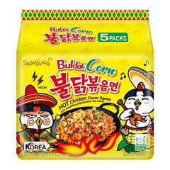 Kit de Lamen Coreano Super Picante Buldak Corn Hot Chicken Flavor Ramen Sabor Frango e Milho 130g - 5 Pacotes
