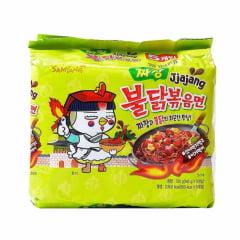 Kit de Lamen Coreano Super Picante Hot Chicken Flavor Ramen Sabor Frango Jjajang  130g - 5 Pacotes
