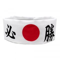 Faixa Japonesa Hachimaki para Sushiman Hissho Vitória  Branca - 10 Unidades