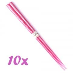 Kit Jogo de Hashi de Plástico Rosa - 10 Unidades