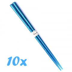 Kit Jogo de Hashi de Plástico Azul - 10 Unidades