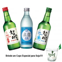 Kit Soju Importado Chamisul Fresh Original IsBack Soju HiteJinro 360mL - 3 Unidades + Brinde