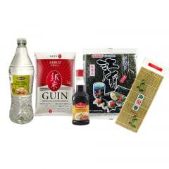 Kit Oriental para Preparo do Sushi - Esteira, Alga, Arroz, Shoyu e Tempero