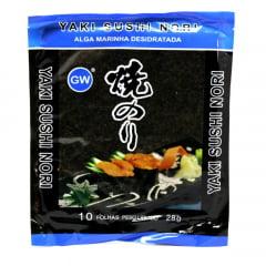 Alga Nori para Sushi e Temakis com 10 Folhas GW - 28 gramas