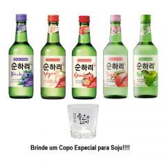 Kit 5 Soju Bebida Coreana Chum-churum Importado  Sabores - Copo Brinde