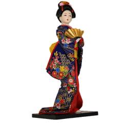 Boneca Japonesa Gueixa Artesanal com Kimono Azul  Flores e Leque Dourado