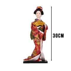 Boneca Japonesa Gueixa Artesanal com Kimono Pink e Leque Dourado