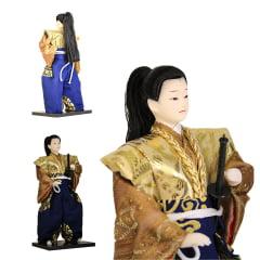 Boneco Japonês Samurai com Kimono Azul, Marrom,  Dourado e Espada Oriental - 30 cm