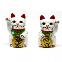 Dupla de Cofres Gato da Sorte de Maneki Neko C10 - 10cm