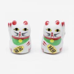 Dupla de Gato da Sorte Maneki Neko  P1 - 4cm