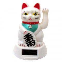 Gato da Sorte Branco Solar - Maneki Neko