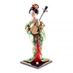 Boneca Japonesa Gueixa Artesanal com Kimono Verde e Sanshin - 30cm