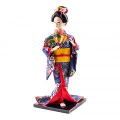 Boneca Japonesa Gueixa Artesanal com Kimono Azul e Leque Colorido - 30cm