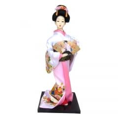 Boneca Japonesa Gueixa Artesanal com Kimono Branco e Leque Tradicional
