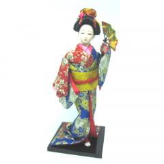 Boneca Japonesa Gueixa Artesanal com Kimono Colorido e Leque