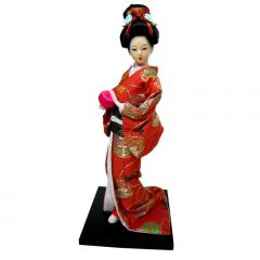 Boneca Japonesa Gueixa Artesanal com Kimono Laranja e Bola Rosa