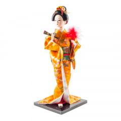 Boneca Japonesa Gueixa Artesanal com Kimono Laranja e Leque Fechado - 30cm