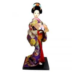 Boneca Japonesa Gueixa Artesanal com Kimono Roxo e Leque Tradicional